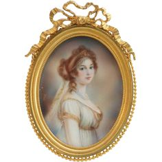 Signed French Miniature Portrait of an Empire Lady. Signed Halli.