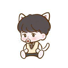 Exo, Sehun, Cute Chibi, Hello Kitty, Snoopy, Fan Art, Draw, Anime, Fictional Characters
