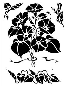 Morning Glory stencil from The Stencil Library BUDGET STENCILS range. Buy stencils online. Stencil code TP24.