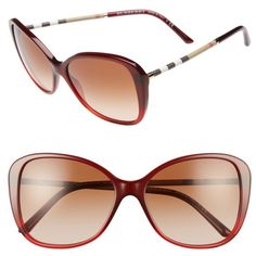 Women's Burberry 57Mm Butterfly Sunglasses ($240) ❤ liked on Polyvore featuring accessories, eyewear, sunglasses, bordeaux, burberry eyewear, burberry glasses, checkered sunglasses, mod sunglasses and butterfly sunglasses
