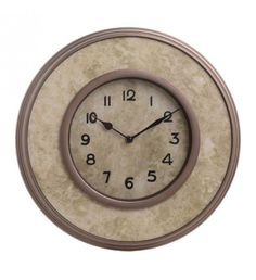 POLYRESIN WALL CLOCK IN BEIGE_COPPER COLOR D35_5X4