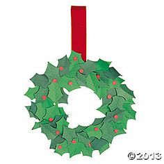 Holly Christmas Wreath Craft Kit - we could cut these leaves with the Cricut, I bet! Holly Christmas, Christmas 2014, Winter Christmas, Christmas Wreaths, Christmas Crafts, Christmas Ornaments, Christmas Ideas, Craft Kits, Craft Ideas