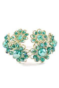 Teal Vitrail Crystal Cuff | Emma Stine Jewelry Bracelets