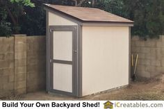 Completed 4x8 Lean lean to backyard shed with door on the 4' end! Plans by iCreatables.com