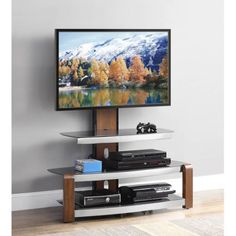 """Whalen Swinging TV Stand for TVs up to 47"""", Brown Cherry - Walmart.com"""