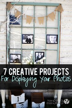 7 creative projects perfect for displaying your photos! #howdoesshe #diy #projects #photodisplay Graduation Open Houses, Graduation Ideas, Graduation 2015, Farmhouse Side Table, Grad Parties, Retirement Parties, Summer Parties, Farmhouse Design, Photo Displays