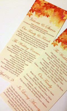 """Fall Wedding Ceremony Program - Tea Length Program """"Watercolor Fall"""" Double Sided Ivory Wedding Program Order of Service """"We Print"""" by PaintTheDayDesigns on Etsy"""