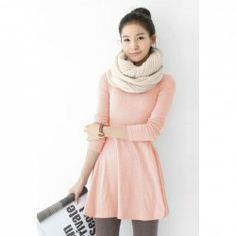 Ladylike Plus Size Multi Solid Color Scoop Neck Long Sleeves Cotton Blend Dress For Women
