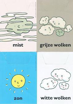 Weerkalender Dutch Words, Dutch Language, Weather Seasons, Toddler Crafts, In Kindergarten, Bird Feathers, Doodles, Classroom, Teaching