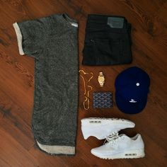 Team Cozy. PRM is the wave. @outfitgrid / #outfitgrid  Shirt: PremiumCo Big Loop Terry Tee Waxed Denim: Diesel  Kicks: Air Max 90 USA Pack Watch: Rolex Datejust II Wallet: Goyard Chain: Versace Cap: New Era LA Dodgers