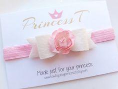 Girls/Baby Headband IvoryFelt Bow w/ Pink by BowtiquebyprincessT