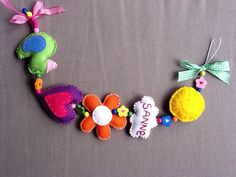 Geboorte slinger van vilt , cadeau idee / felt / baby present