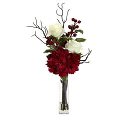Merry Christmas Rose Hydrangea Arrangement - Nearly Natural, Red