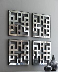 "above new console?  Four fretwork mirrors fit together beautifully. Framed in hand-painted wood. Each panel, 17.5""Sq.  $385  Four Fretwork Mirrors - Neiman Marcus"