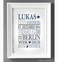 Personalisierte+Geburtsanzeige+Bis+zum+Mond+Junge++von+ABOUKI+Art+Factory+auf+DaWanda.com