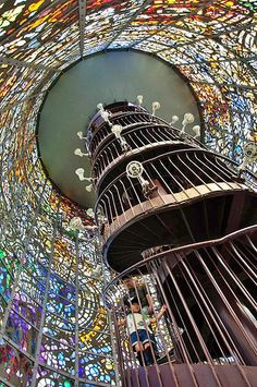 Stained Glass Turret with a spiral staircase | The Hakone Open Air Museum, Kanagawa, Japan