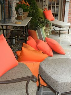 A pastry table outside, I wish I could remember whose house this was, just brilliant, especially w/ the bright pillows Bright Pillows, Orange Pillows, Accent Pillows, Throw Pillows, Outdoor Spaces, Outdoor Living, Room Colors, Colours, Color Of The Year