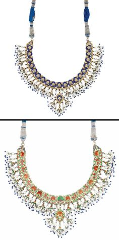 Indian Gold, Blue Enamel, Diamond, Biwa Pearl and Jaipur Enamel Fringe Necklace  Composed of a continuous line of fancy-shaped blue enamel panels set with numerous foiled-back table-cut diamonds, centering one pendant of similar design, all suspending fringe of biwa pearl and blue glass beads, the reverse applied with white, red, green and blue Jaipur enamel. Length adjustable.