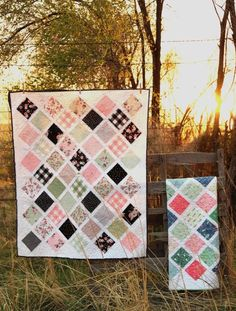 Modern Farmhouse baby quilt made with my popular lattice quilt tutorial. Quilt kits available as well as finished baby quilt.