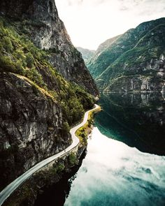 """""""Norwegian roads: they're incredibly beautiful until darkness descends as you hurry to get home..."""" (Vassbygdevatnet [lake], Norway) by Valentin & Roman @thealpinists (@twintheworld) on Instagram cr.c."""