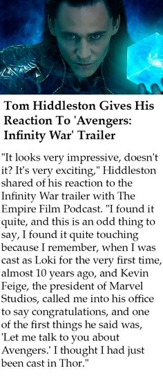 Tom Hiddleston Gives His Reaction To 'Avengers: Infinity War' Trailer. Link: http://comicbook.com/marvel/2018/01/29/avengers-infinity-war-trailer-tom-hiddleston-reaction-loki-thor/ #TomHiddleston #Loki #InfinityWar