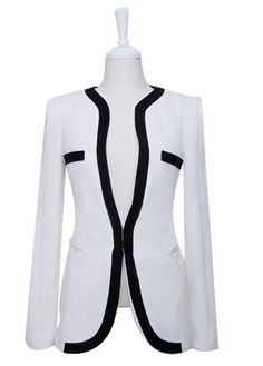 Office Lady Fitted Black And White Match Polyester Blazer For Women Suit Jackets For Women, Blazers For Women, Suits For Women, Ladies Blazers, Women's Blazers, Slim Suit, Glamour, Blazer Fashion, Scrappy Quilts