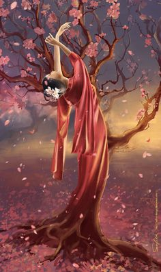 According to the japanese legends, under each sakura tree lies a corpse, so their blossom has such a saturated color - because of the human blood. The spirit of the sakura tree Fantasy Paintings, Fantasy Art, Body Painting Festival, Beautiful Scenery Pictures, Geisha Art, Comic Art Girls, Art Painting Gallery, Japanese Art, Japanese Geisha