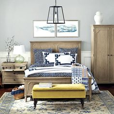 Ballard Designs - Thandie Watercolor Bedding and Rene Pillow Top Bench in Soho Velvet Lemongrass, whale diptych art Blue And White Bedding, Blue Bedding, Girl Bedding, Blue Bedroom, Bedroom Colors, Discount Bedroom Furniture, Bedroom Photos, Home Decor Bedroom, Bedroom Ideas