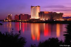 Laughlin Nevada and the Colorado River at Sunset