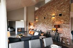 Love the brick wall! Brick Wall, Conference Room, House Design, Couch, Table, Design Ideas, Inspiration, Furniture, Google
