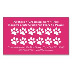 Dog Grooming Customer Rewards Card - Loyalty Punch Cards for pet grooming business.