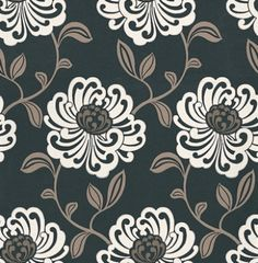 Fiori Ebony (W0012/03) - Clarke & Clarke Wallpapers - A beautiful large floral trail in a stylized effect. Showing in black, white and beige with metallic highlights. Other colour ways available. Please request a sample for true colour match. Paste-the-wall product.