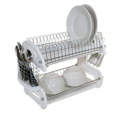 Home Basics 2 Tier Dish Rack Amusing White Plastic Coated Three Tier Dish Drainer2300 From Drainers 4 U Design Decoration