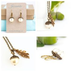 Acorn Jewelry Gift Set - Pale Gold Pearls / Antique Gold Brass