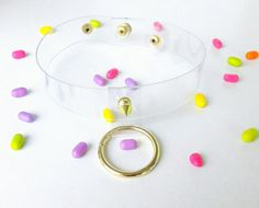 Gold hanging o ring choker 90s party pastel gothic by YPSILONBAGS
