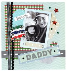 A sweet Father and son scrapbook page made with our free downloadable Polaroid template and some glittery stickers.