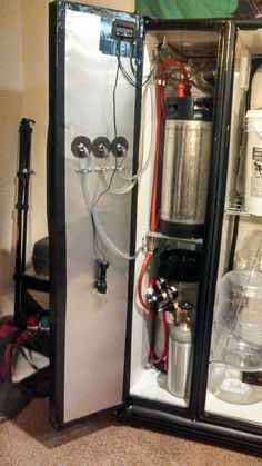 Post with 13889 views. Kegerator and Fermentation Chamber Finally Finished! Beer Brewing Process, Home Brewing Beer, Pub Sheds, Brewery Design, Brewing Equipment, Brew Pub, Bourbon, Alcohol, It Is Finished