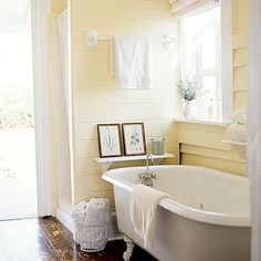 29 Interesting Yellow And White Bathroom Ideas. If you are looking for Yellow And White Bathroom Ideas, You come to the right place. Below are the Yellow And White Bathroom Ideas. This post about Yel. Yellow Cottage, Coastal Colors, Pastel Yellow, Pale Yellow Walls, Yellow Walls Bedroom, Pale Yellow Paints, Blue Yellow, Yellow Rooms, Yellow Paint Colors