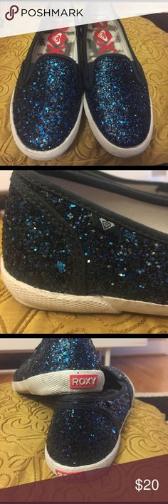 Roxy blue glitter slide on sneakers sz 8 Roxy blue glitter slide-on sneakers size 8, will fit 8-8.5 -as long as your feet are narrow-regular! Only worn a couple of times. The glitter finish is thick and doesn't show a bit of canvas: very well done! I'm an 8.5/9 and tried, Tried, TRIED to make these work, as they were the last pair. Ah boo. Roxy Shoes Sneakers