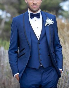 slim navy suit with waistcoat bowtie - Google Search