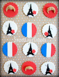 Your place to buy and sell all things handmade Paris Cupcakes, Pink Cupcakes, Themed Cupcakes, Valentine Cupcakes, Paris Themed Cakes, Vintage Cupcake, Vintage Party, Fondant Cupcake Toppers, Graduation Cupcakes