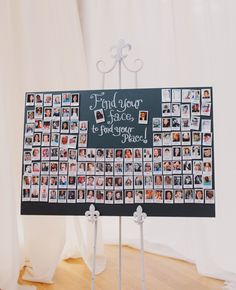 Family Picture Wedding Decor - Polaroid escort card display. could use FB photos, instagram photos, or family photos