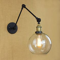 Vintage Black Finished Single Light Adjustable LED Wall Sconce with Clear Globe Shade, Fashion Style Industrial Lighting Rustic Wall Lighting, Black Outdoor Wall Lights, Rustic Wall Sconces, Rustic Lamps, Outdoor Wall Lighting, Lighting Ideas, Swing Arm Wall Sconce, Led Wall Sconce, Globe