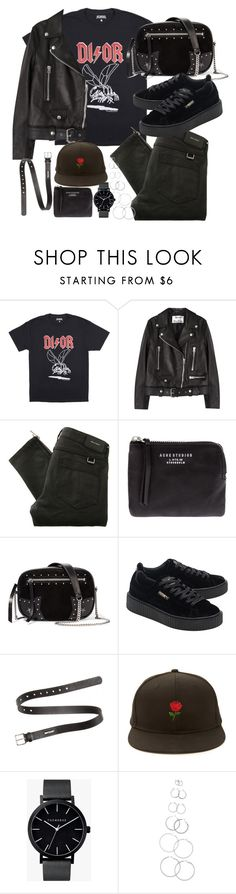 """outfit with a dior tee and puma creepers"" by ferned on Polyvore featuring Acne Studios, Belstaff, Karl Lagerfeld, Puma, Forever 21 and The Horse"