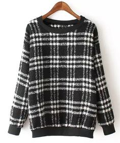 Chic Round Neck Long Sleeve Plaid Sweatshirt For Women