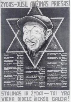 A Nazi propaganda poster from 1941 in Lithuanian language, equating Stalinism and Jews. This anti-Soviet and anti-Semitic Nazi poster is highly useful for illustrating articles on anti-Semitism in Lithuania, and Lithuanian history and collaboration with the Nazis.