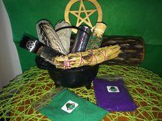 Cauldron Kit,Incense Kit,Smudge Kit,Incense Burner,Cast iron Cauldron,Pentacle Altar Kit,GreenmanOrganics,White Sage,Yerba Santa,Druid Resin by GreenManOrganics on Etsy