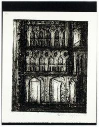 By: Norman Roland Eppink  1967, (Façade). 2.23.17. This is a collagraph by the artist Eppink. The artist used a subtracting method to make the collagraph, or it looks like the artist used subtraction. I like this piece because of the detail and the fact that it looks like a stained glass window or a hallway.