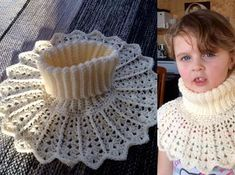 Yarn: This is made of an acrylic yarn Hook: Note! Crochet very loose to get a soft and fluffy collar. This is written with English crochet terminology. sl st s… Bobble Stitch Crochet, Crochet Chain, Crochet Collar, Crochet Scarves, Crochet Clothes, Crochet For Kids, Crochet Baby, Knit Crochet, Crochet Stitches Patterns