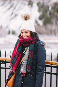 best coat for winter | pom pom knit winter hat, puffy winter coat parka, plaid scarf
